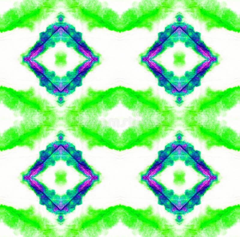 Tie Dye Pattern. Shibori seamless print. Seafoam Green Watercolor hand drawn batik. Summer ink japan illustration. Handmade watercolour shirt tie dye pattern vector illustration