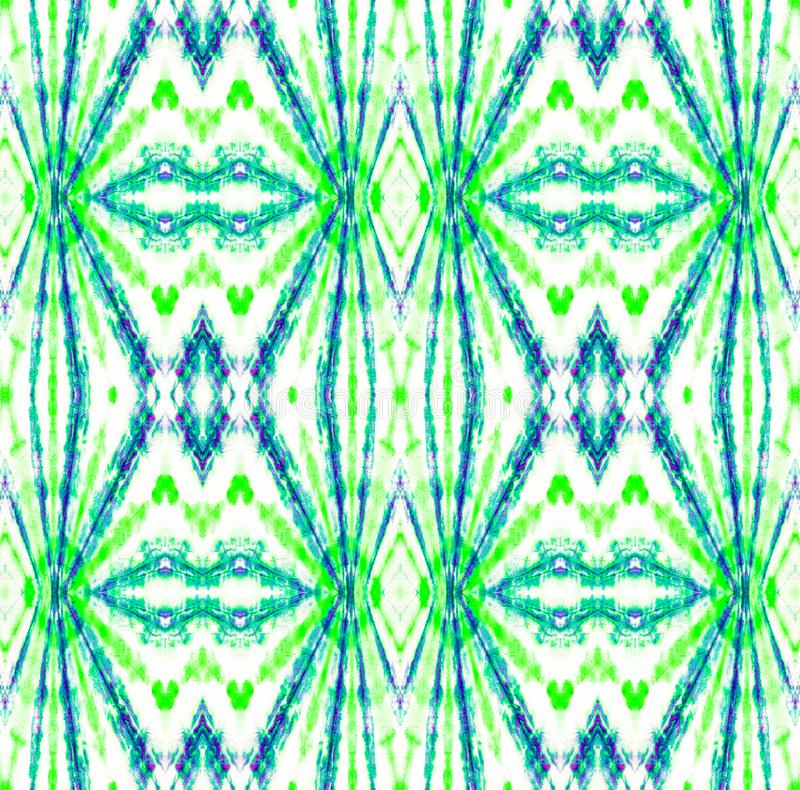 Tie Dye Pattern. Seafoam Green Shibori seamless print. Watercolor hand drawn batik. Summer ink japan illustration. Handmade watercolour shirt  Aztec stock illustration