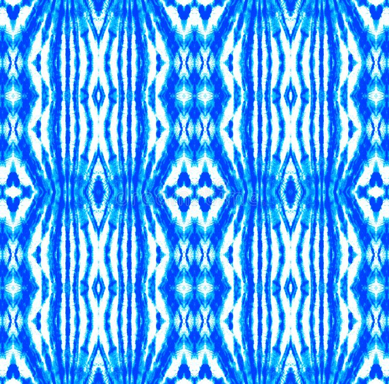 Tie Dye Pattern. Shibori seamless print. Indigo and Blue Watercolor hand drawn batik. Summer ink japan illustration. Handmade watercolour shirt  Aztec vector illustration