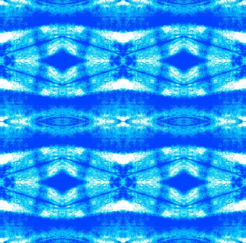 Tie Dye Pattern. Watercolor hand drawn batik. Summer ink japan illustration. Handmade watercolour shirt  Aztec kaleidoscope texture. Indigo and Blue Shibori stock photography
