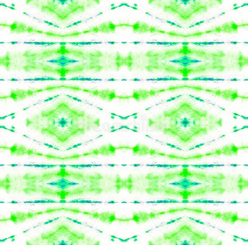 Tie Dye Pattern. Watercolor hand drawn batik. Summer ink japan illustration. Handmade watercolour shirt  Aztec kaleidoscope texture. Seafoam Green Shibori royalty free illustration