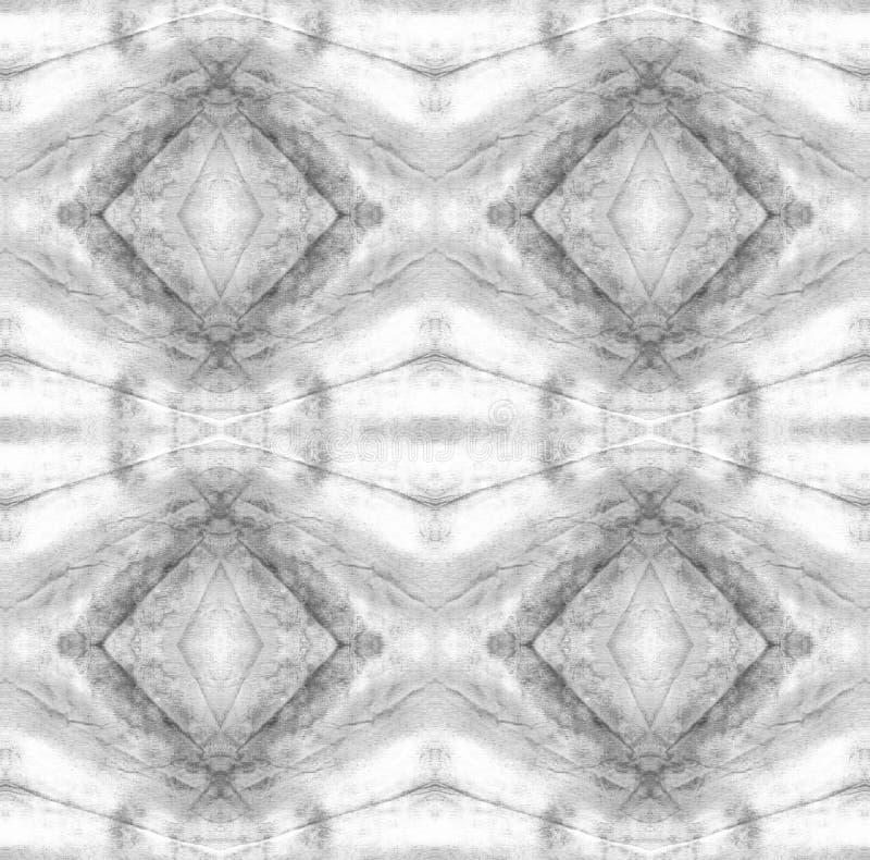 Tie Dye Pattern. Watercolor hand drawn batik. Summer ink japan illustration. Handmade watercolour shirt  Aztec kaleidoscope texture. Shibori seamless print stock illustration