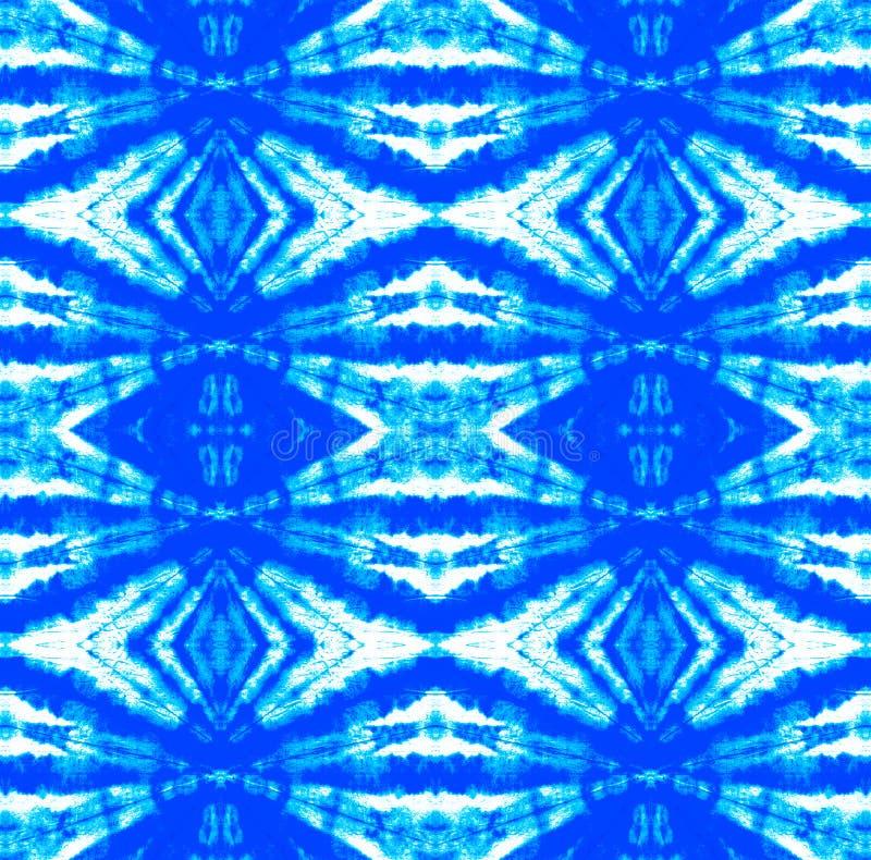 Tie Dye Pattern. Watercolor hand drawn batik. Summer ink japan illustration. Handmade watercolour shirt tie dye pattern. Aztec kaleidoscope texture. Indigo and vector illustration