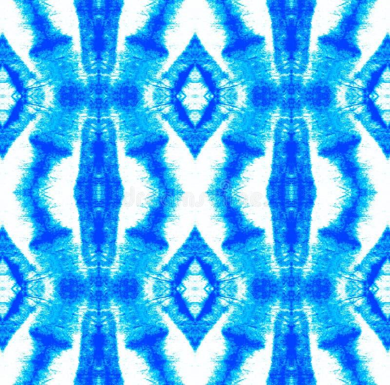 Tie Dye Pattern. Watercolor hand drawn batik. Summer ink japan illustration. Handmade watercolour shirt tie dye pattern. Aztec kaleidoscope texture. Indigo and stock illustration