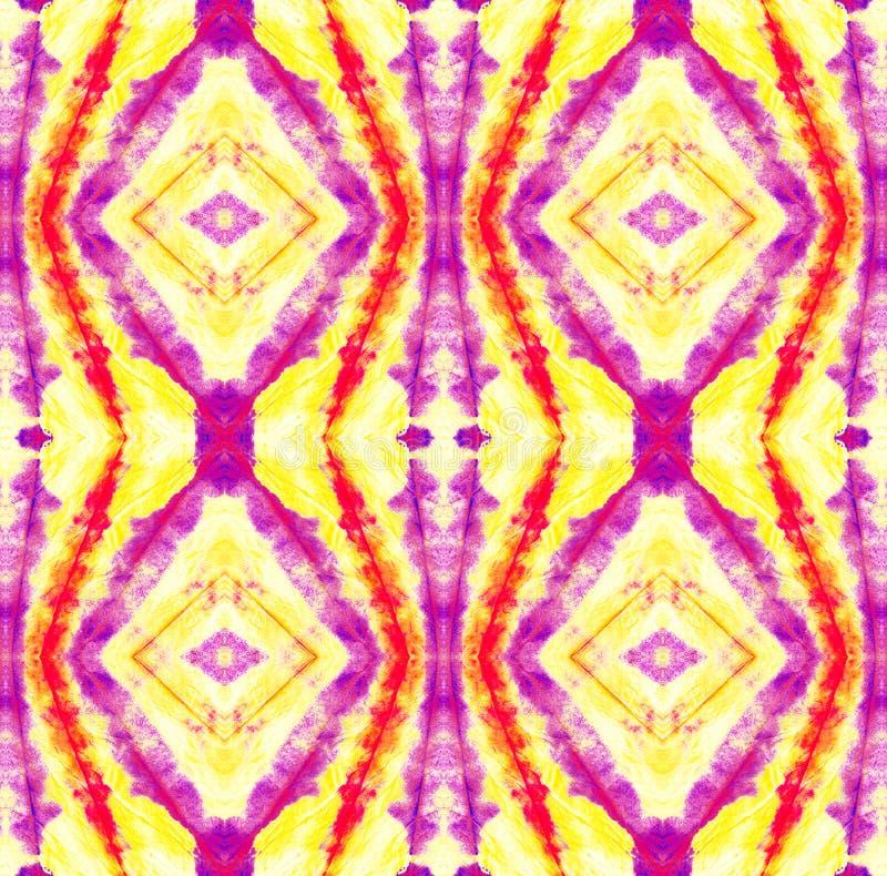 Tie Dye Pattern. Watercolor hand drawn batik. Summer ink japan illustration. Handmade watercolour shirt  Aztec kaleidoscope texture. Purple and Violet Shibori royalty free illustration