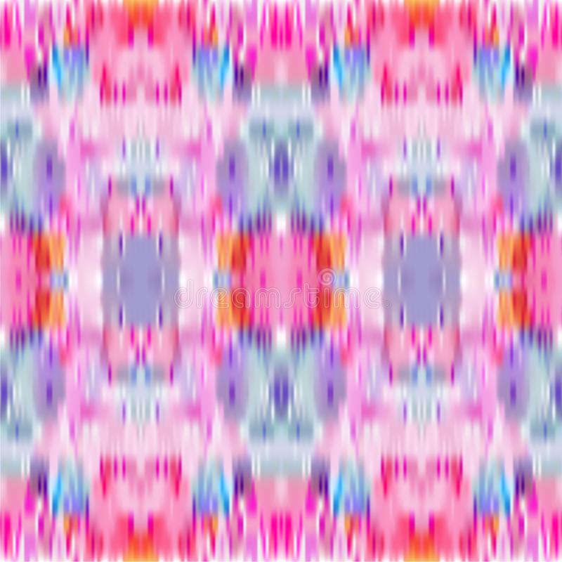Tie Dye Seamless Pattern. Vector Ikat Background. Pastel Colored Abstract Print stock illustration