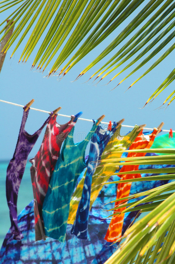 Tie-dye t-shirts for sale royalty free stock image