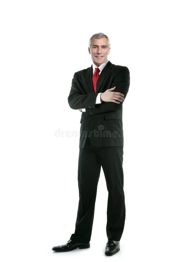 tie för dräkt för stand för full längd för affärsman posera arkivfoto