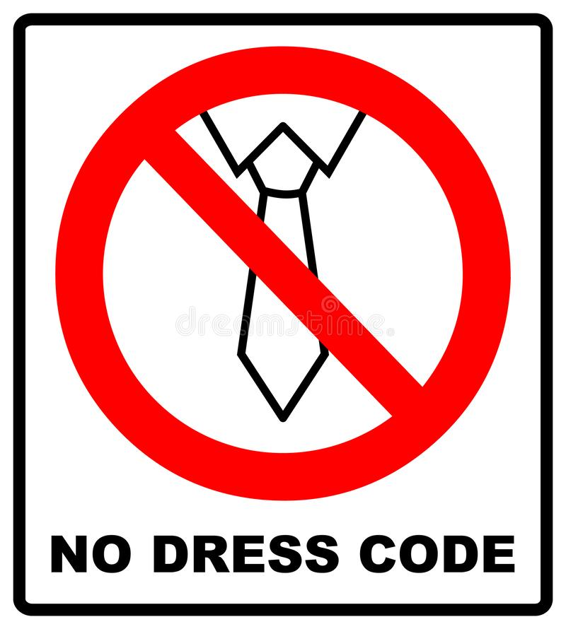 Tie line icon in prohibition red circle, No business style of dress ban or stop sign, dress code forbidden symbol stock illustration