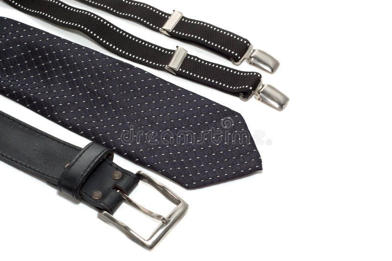 Tie suspenders and belt royalty free stock photography
