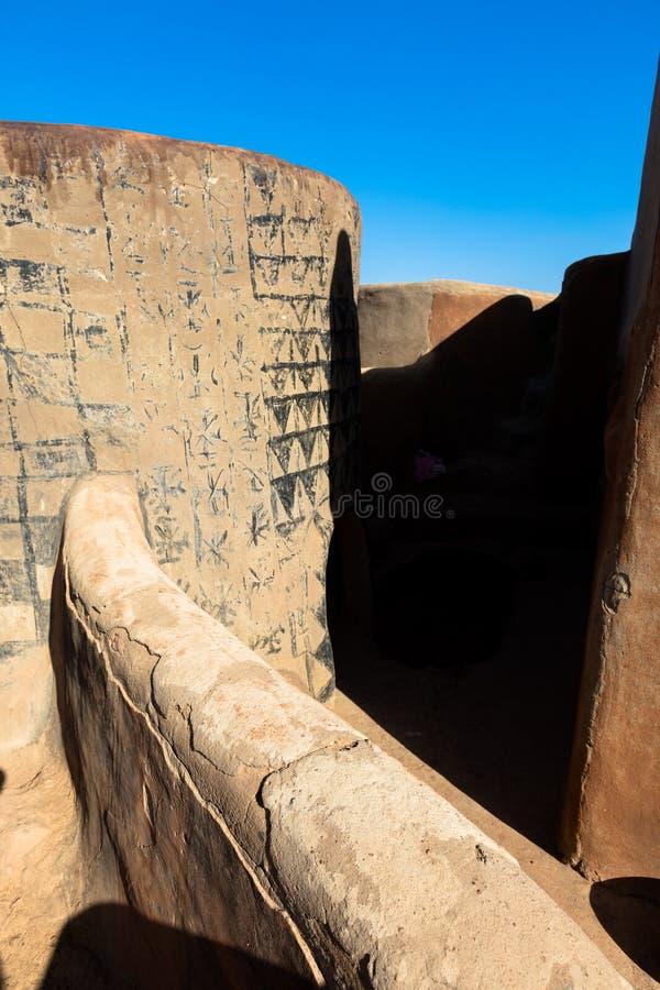 Tiebelè. kassena village. Tiebelè, the royal court made by painted kassena houses, Burkina Faso royalty free stock photos