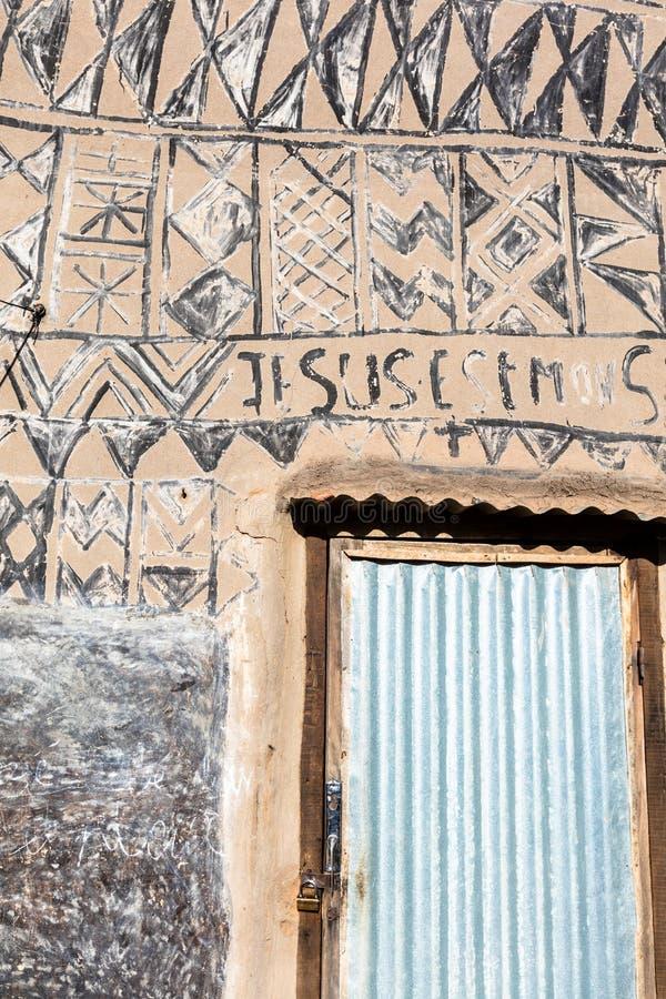 Tiebelè. kassena village. Tiebelè, the royal court made by painted kassena houses, Burkina Faso stock photo