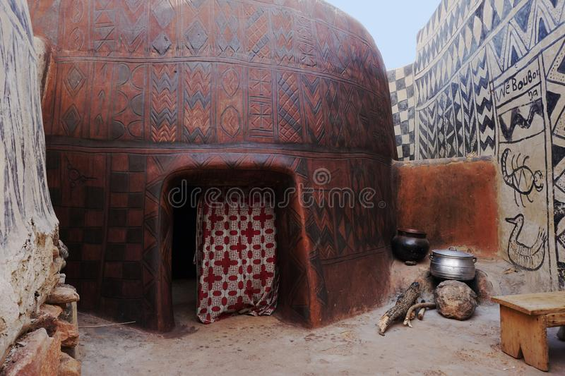 Paintet houses in tiebele in burkina faso. Tiebele, the royal court made by painted kassena houses, Burkina Faso royalty free stock image