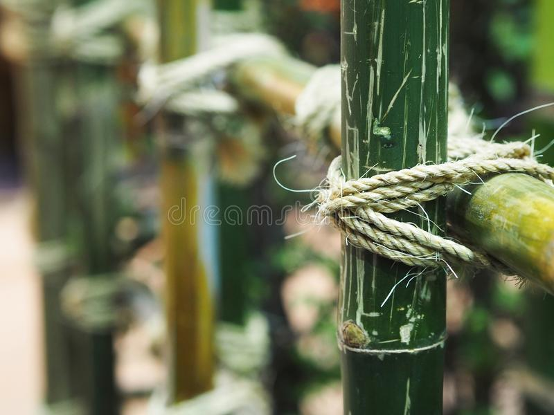 Tied rope circle on the bamboo pole. Close up tied rope circle on the bamboo pole. Structure of natural fence gardening royalty free stock photos