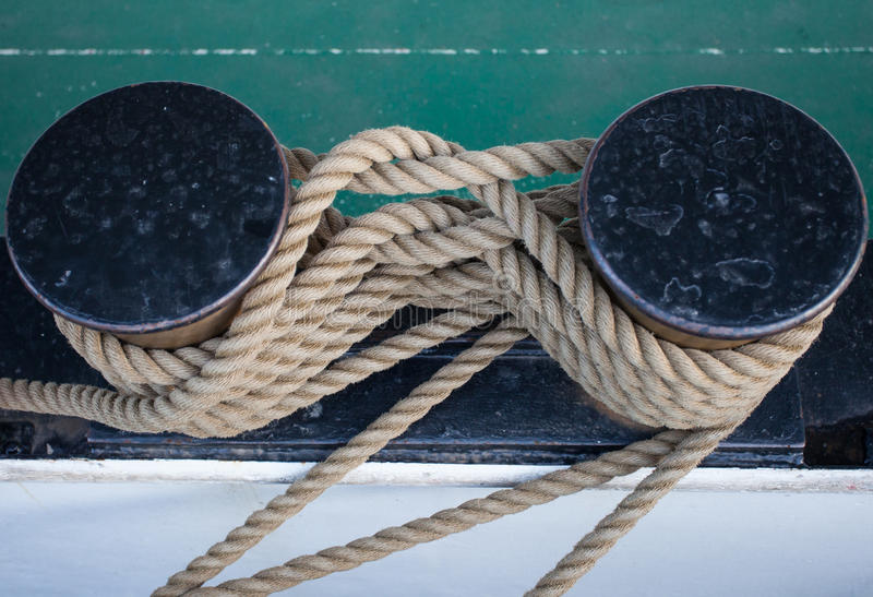 Download Tied Rope On Ship In Harbor Stock Image - Image of coiled, bollard: 35099135