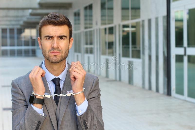Tied up businessman in office space royalty free stock photos