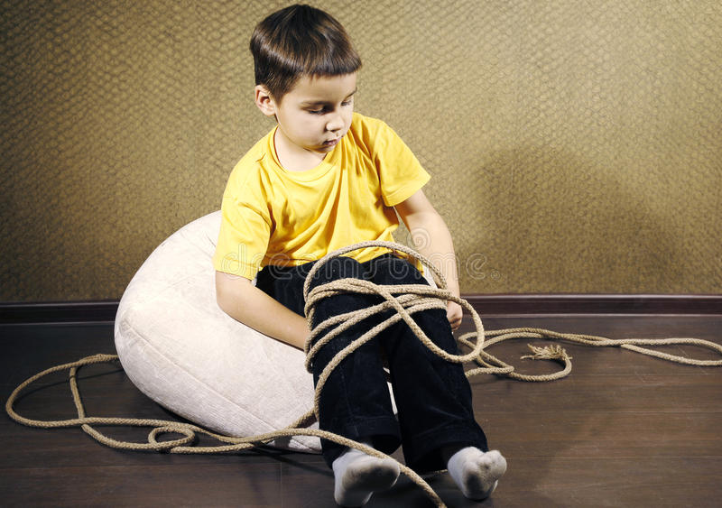 Tied up kid royalty free stock photography