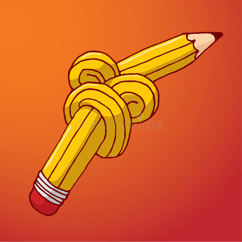 Tied up pencil with complex knot stock illustration