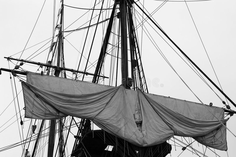 Tied up sail stock image