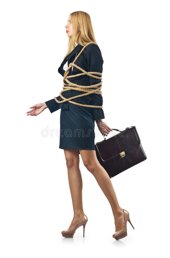 Tied woman. In business concept royalty free stock image