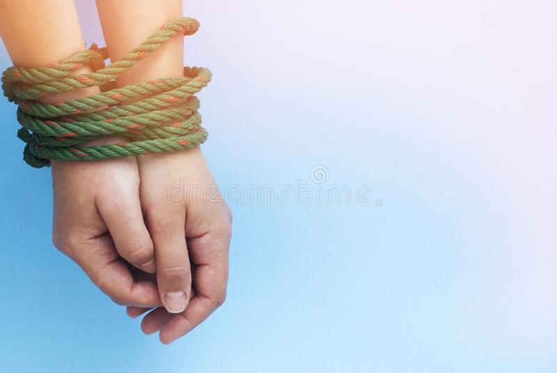Tied Women Hands, Violence, FreedomConcept, Blue Toned Background, Copy Space royalty free stock photos