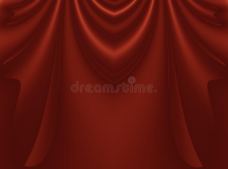 Tiefe reiches Rot moderne abstrakte Fractalhintergrundillustration mit dem stilisierten Drapieren oder den Vorhängen Dunkler glat lizenzfreie abbildung