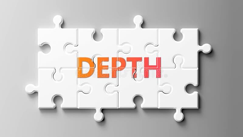 Tiefenkomplex wie ein Puzzle - abgebildet als Worttiefe auf einem Puzzleteil, um zu zeigen, dass Tiefe schwierig sein kann und zu lizenzfreie abbildung