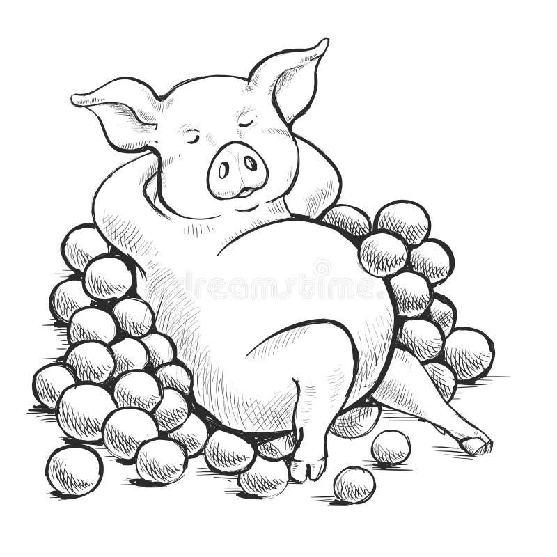 Tiefenliniefederzeichnung Farbton f?r Kinder Eine Reihe Postkarten mit piggy Sprichw?rter und Sprechen Als Schwein in den Orangen stock abbildung