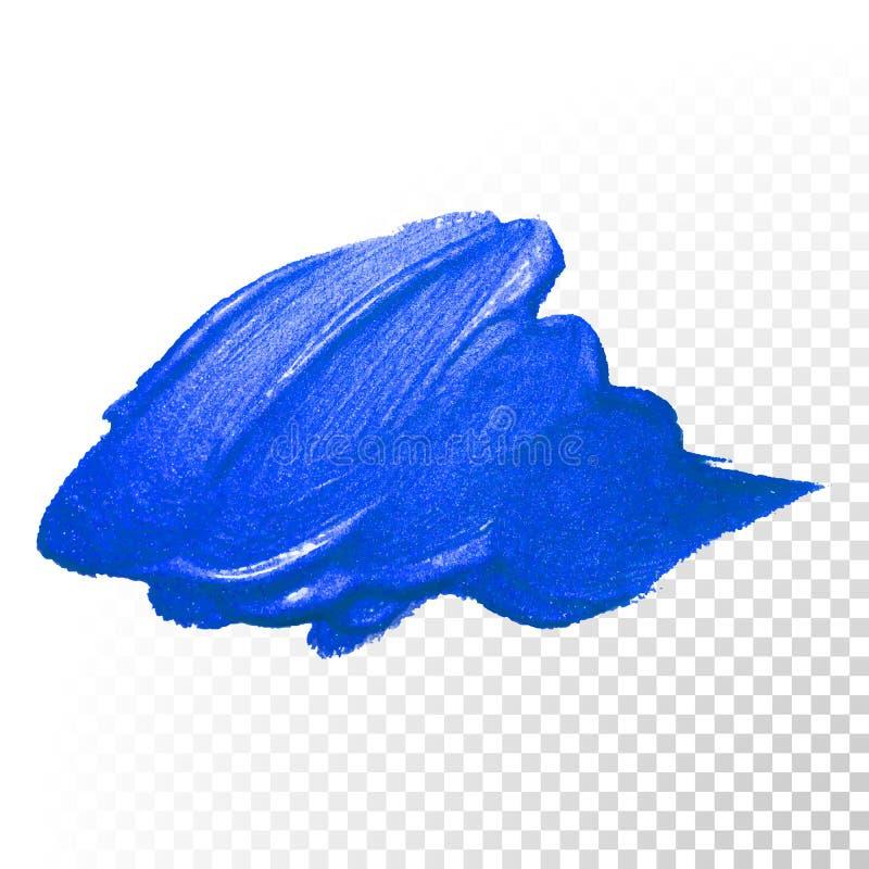 Tiefer blauer Aquarellbürsten-Zusammenfassungsanschlag VektorÖlfarbeabstrich stock abbildung