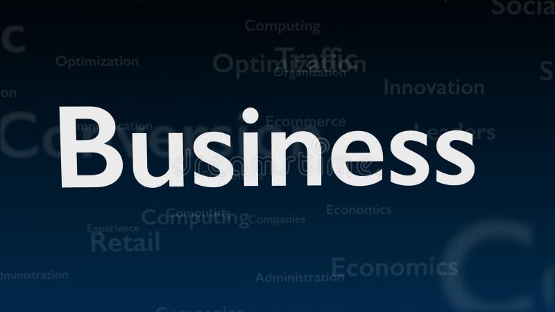 Tiefer blauer Hintergrund mit verschiedenen Wörtern, die Geschäft beschäftigen Abschluss oben Kopieren Sie Platz 3d lizenzfreie abbildung