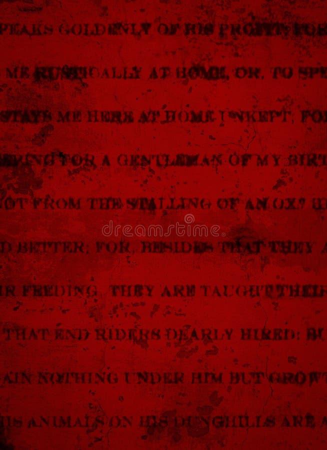 Tiefer dunkelroter Schmutz-Hintergrund mit schwarzem rustikalem Druck lizenzfreies stockbild