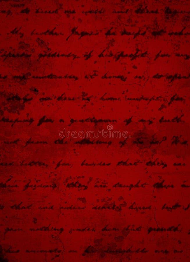 Tiefer dunkelroter Schmutz-Hintergrund mit schwarzem Skript-Schreiben lizenzfreie stockbilder