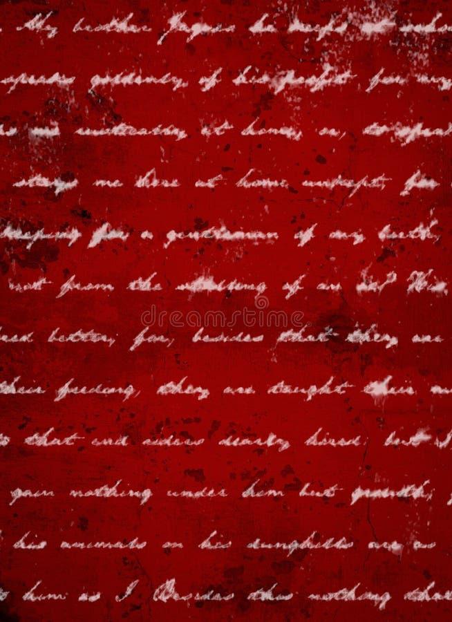 Tiefer dunkelroter Schmutz-Hintergrund mit weißem Skript-Schreiben stockfotos