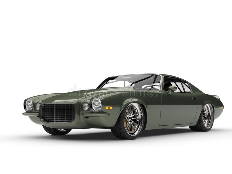 Tiefer metallischer grüner klassischer alte Schulamerikanischer Motor- Schönheitsschuß vektor abbildung