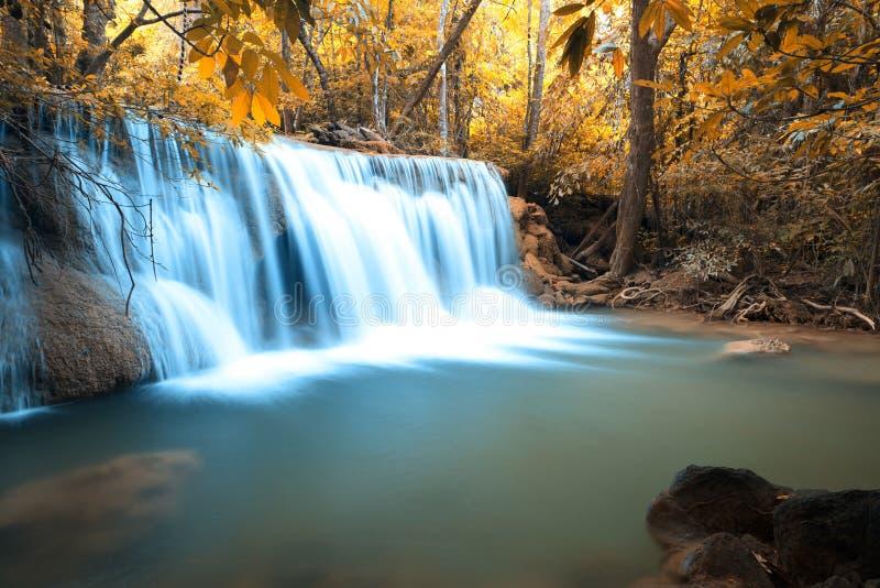 Tiefer Wasserfall Wald des Herbstes stockfotos
