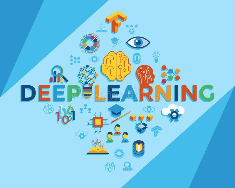 Tiefes Lernen Digital-Vektors stock abbildung