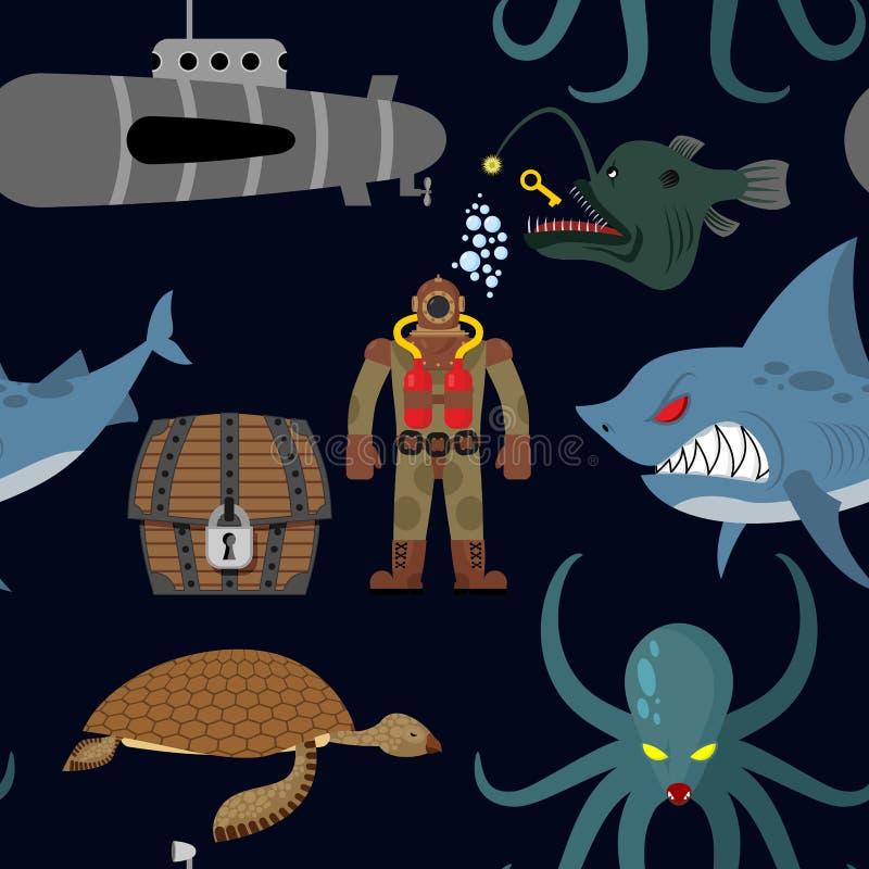 Tiefes Seenahtloses Muster Taucher und Haifisch auf schwarzem Hintergrund stock abbildung