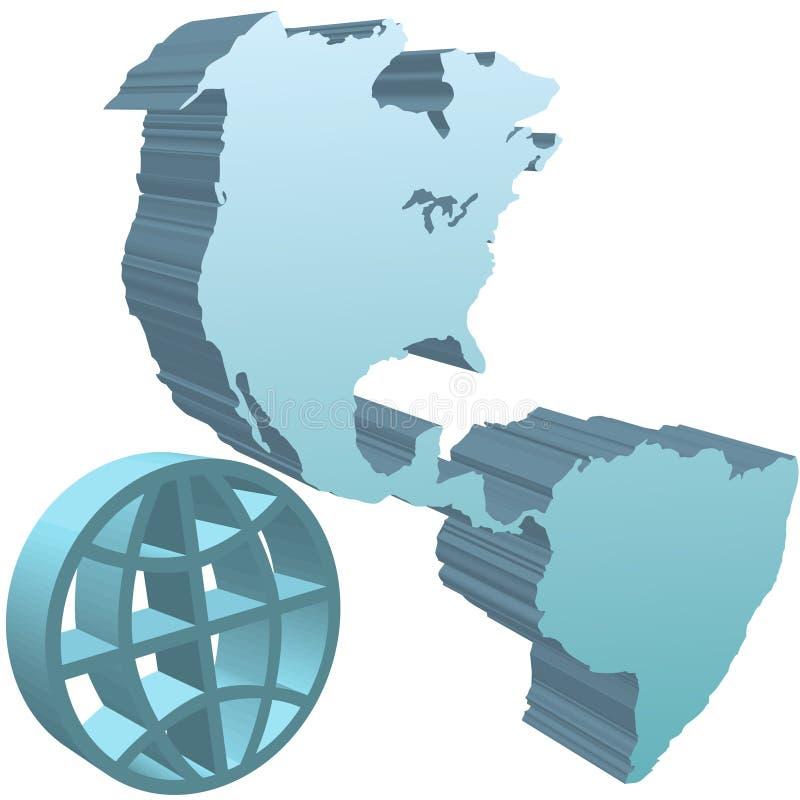 Tiefes Symbol des Blaus 3D der westlichen Hemisphäre der Kugelerde vektor abbildung
