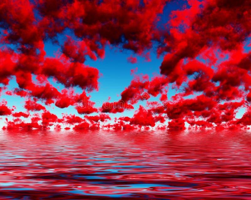 Tiefrote Wolken stock abbildung