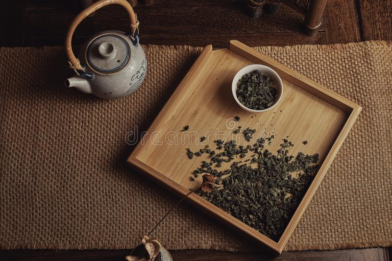Tieguanyin tea in China. Tieguanyin tea, Chinese traditional tea, belongs to green tea, is one of the ten famous Chinese tea. Originally found in Xiping Town royalty free stock images
