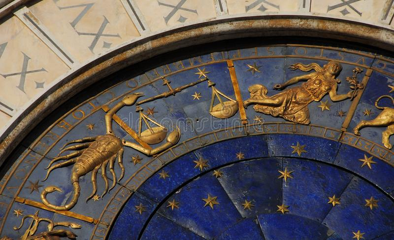 Tiempo, astrología y horóscopo antiguos imagen de archivo