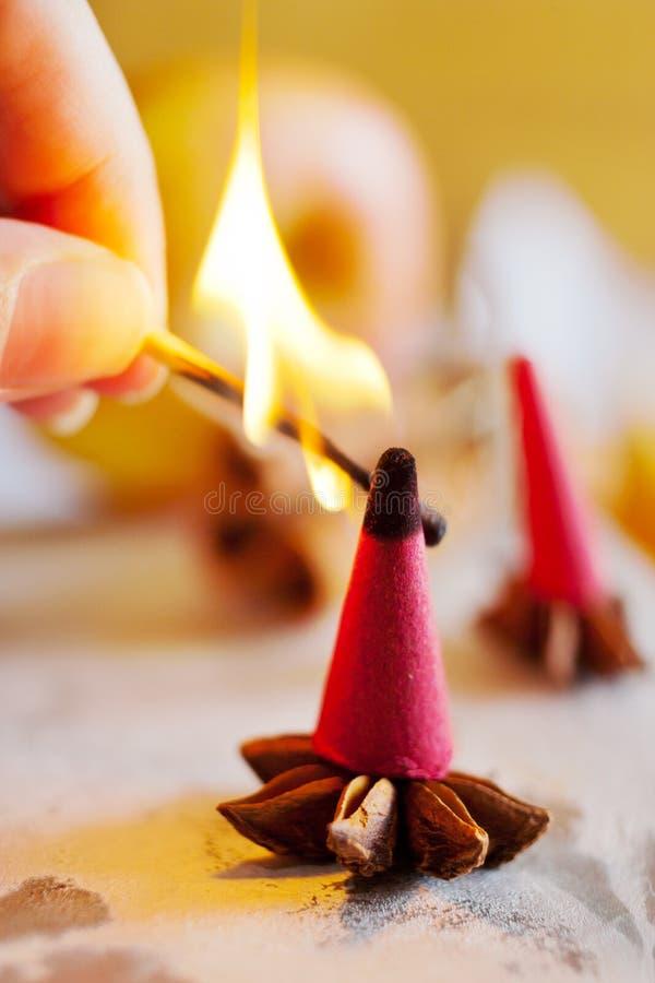 Tiempo checo tradicional de la Navidad y del advenimiento - incienso que fuma foto de archivo libre de regalías
