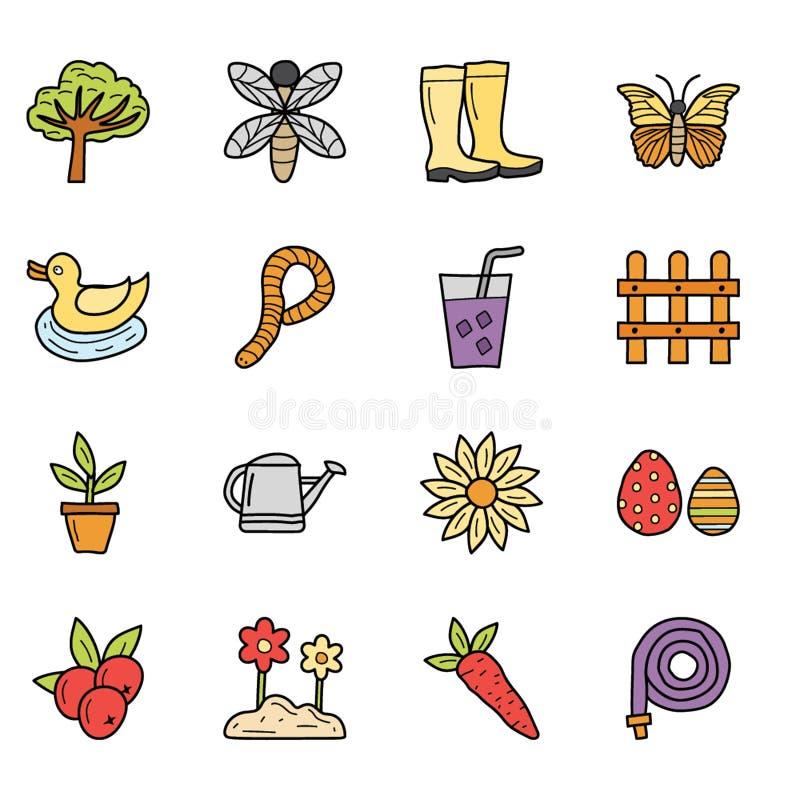 Tiempo, comidas y sistema de los iconos del día de fiesta libre illustration