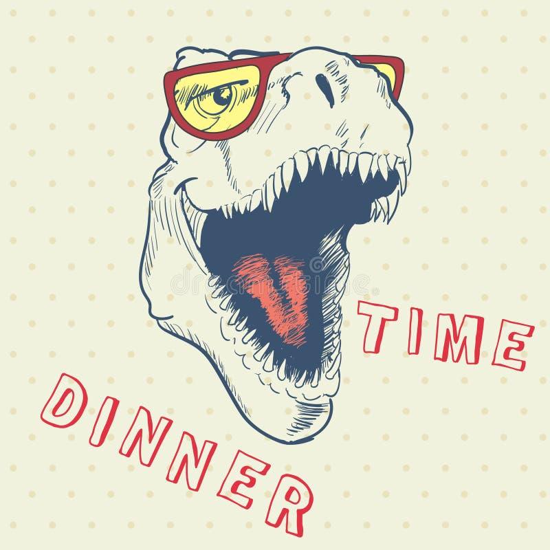 Tiempo de cena del dinosaurio fresco ilustración del vector