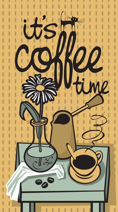 Tiempo de Coffe stock de ilustración