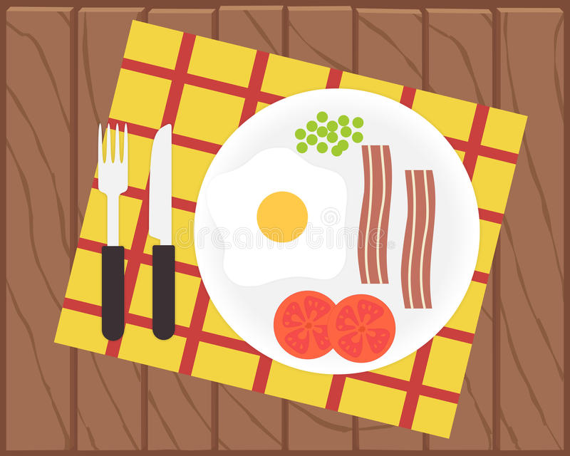 Tiempo de desayuno Huevo, tocino y verduras ilustración del vector