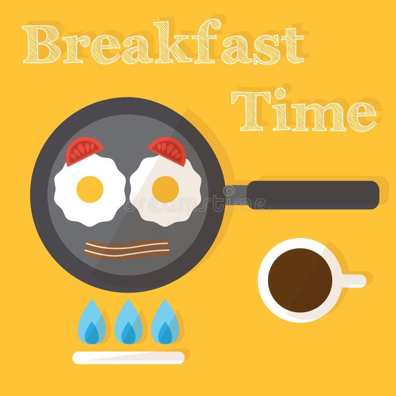 Tiempo de desayuno Proceso de fabricación de los huevos fritos, libre illustration