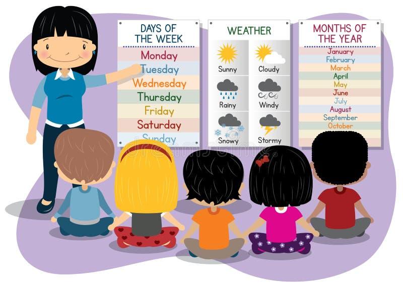 Tiempo de enseñanza de los meses de los días stock de ilustración