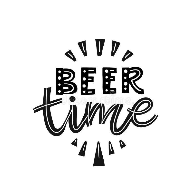Tiempo de la cerveza del ejemplo del fest de la cerveza aislado en blanco ilustración del vector
