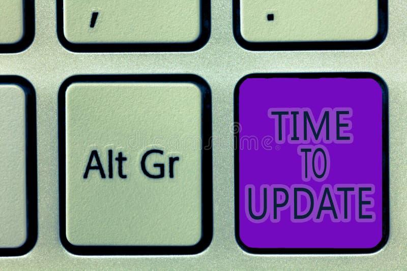 Tiempo de la escritura del texto de la escritura para ponerse al día Concepto que significa la información más reciente sobre una fotografía de archivo